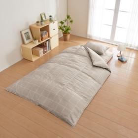 ヤギ 羽毛掛ふとん・合繊敷き布団・枕 寝具3点セット チェック