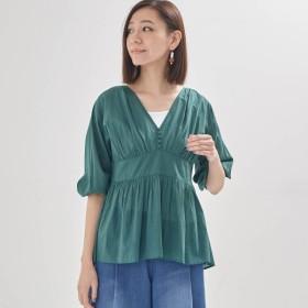 シャツ ブラウス レディース ふんわり軽やかインド綿100%ブラウス 「グリーン」