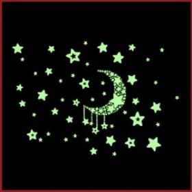 送料無料★寝るのが楽しみ♪ 蓄光 光る シール 壁 ステッカー 寝室 に 夜光 ウォールステッカー ( 三日月空 )