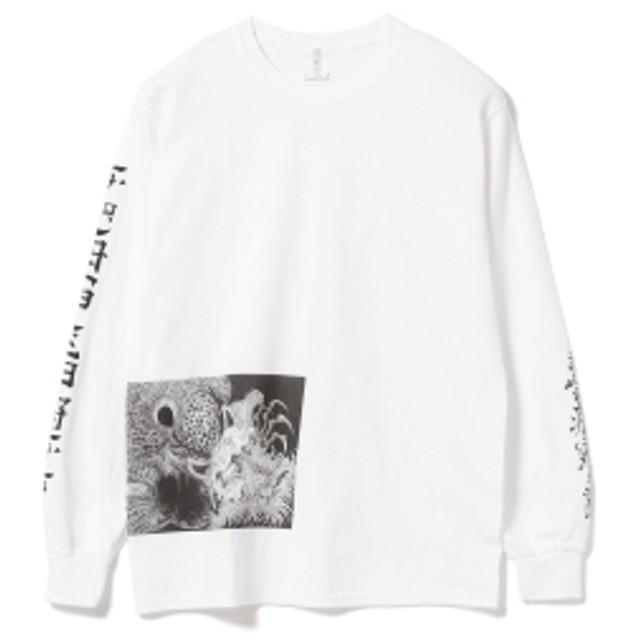 BEAMS T F-LAGSTUF-F × 金子富之 / Kuraokami Long Sleeve Tee メンズ Tシャツ WHITE S