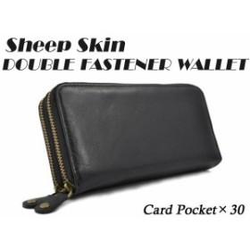 c8fe2f458c50 財布 メンズ 長財布 本革 シープスキン ダブルラウンドファスナー長財布 羊革 ブラック