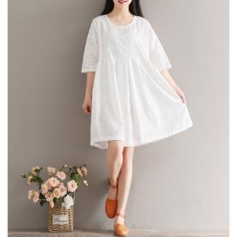 5分袖  可愛い カジュアル ファッション 個性 レディース 体型カバー 袖付き Aライン ワンピース  ミモレ ゆったり 20代 30代 ワンピ 服