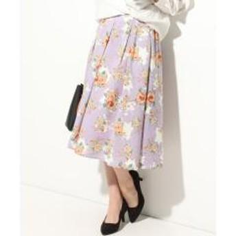 フラワープリントミディ丈フレアスカート【お取り寄せ商品】