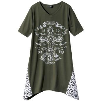 プリントデザインチュニック (大きいサイズレディース)Tシャツ・カットソー