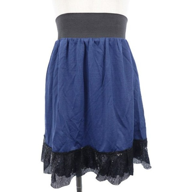 プロポーション ボディドレッシング PROPORTION BODY DRESSING スカート ギャザー ミニ ハイウエスト スパンコール 3 青 ブ