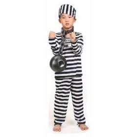 送料無料★囚人服 コスチューム 長袖 衣装 上下 帽子 セット 子供用 コスプレ 宴会 パーティー ハロウィン(120-130cm)