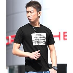 【15%OFF】 ラグスタイル 3D加工星条旗フォトプリント半袖Tシャツ メンズ ブラック M 【LUXSTYLE】 【タイムセール開催中】