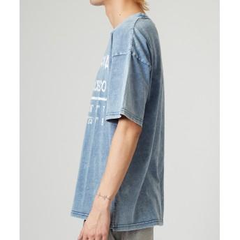 Tシャツ - improves ビッグTシャツ メンズ レディース ビッグシルエット Tシャツ カットソー 半袖 クルーネック オーバーサイズ ビッグサイズカットデニム プリント ロゴ ネイビー ブルー 青 ケミカルウォッシュ サーフ系 ストリートファッション メンズファッション