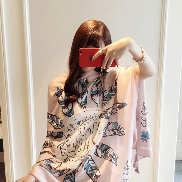 新款時尚棉質柔軟絲巾圍巾 文藝空調披肩 披肩圍巾106