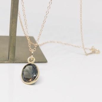 14kgf- 宝石質スモーキークォーツオーバルネックレス