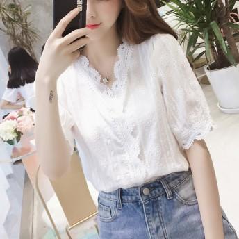 人気商品 可愛い春 ブラウス トップス レディース スキッパー 大人 白 ホワイト 春夏 夏 刺繍 ブラウス シャツ 半袖 レース