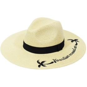 麦わら・ストローハット・カンカン帽 - CELL ヤシ刺繍中折ストローハット 帽子 HAT 麦わら帽子 カジュアル ツバ広帽子 中折れHAT 2019新作