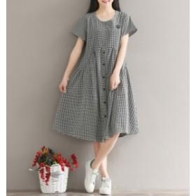 半袖 カジュアル ファッション 個性的 体型カバー 袖付き Aライン ワンピース ミモレ レディース 可愛い ゆったり  女性 学生