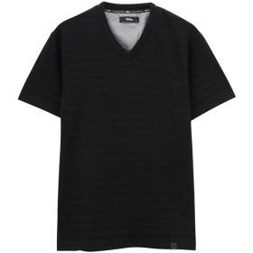 マックハウス MOSSIMO ジャガードVネックTシャツ 9274 0744 メンズ ブラック S 【MAC HOUSE】