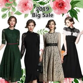 【送料無料】(新作追加) 韓国ファッション 欧米風ワンピース ドレス レトロ花柄 刺繍入りレース ミモレ丈 結婚式などのパーティーに♪