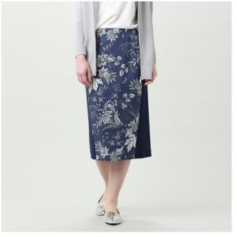 TRANS WORK / トランスワーク 【ウォッシャブル】ボタニカルガーデンプリントタイトスカート