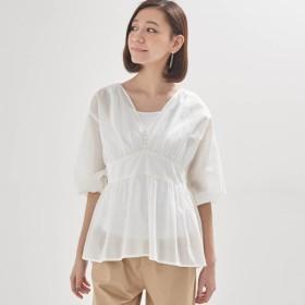 シャツ ブラウス レディース ふんわり軽やかインド綿100%ブラウス 「オフホワイト」