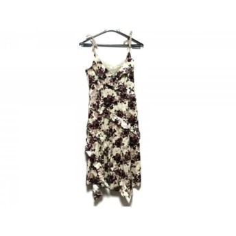 【中古】 レストローズ ドレス サイズ2 M レディース 美品 アイボリー ボルドー ダークグリーン レース