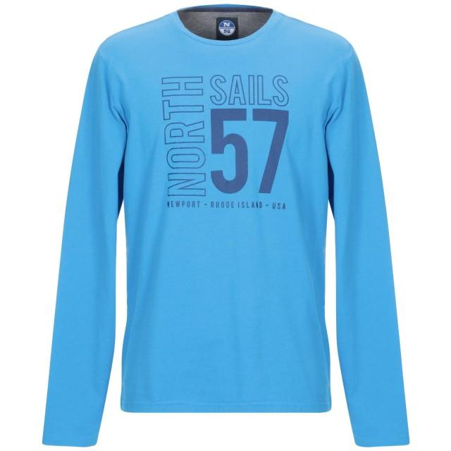 《9/20まで! 限定セール開催中》NORTH SAILS メンズ T シャツ アジュールブルー S コットン 100%