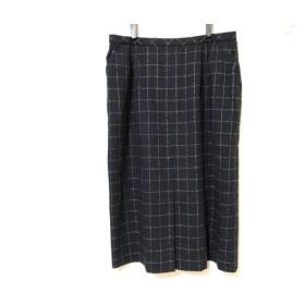 【中古】 レリアン Leilian ロングスカート サイズ13 L レディース 黒 マルチ チェック柄
