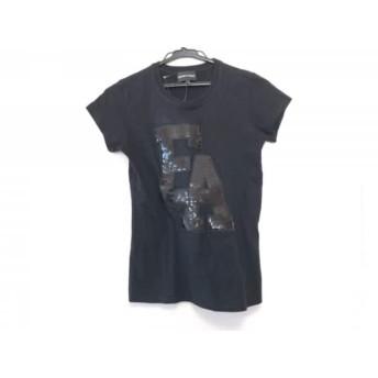 【中古】 エンポリオアルマーニ EMPORIOARMANI 半袖Tシャツ サイズ42 M レディース 黒 スパンコール
