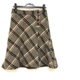 【中古】 ニジュウサンク 23区 スカート サイズ40 M レディース ベージュ ダークブラウン アイボリー