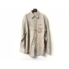 【中古】 カステルバジャックスポーツ 長袖シャツ サイズ2 M メンズ ライトグレー ブラウン