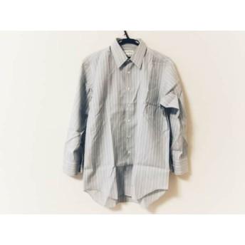 【中古】 ジバンシー 長袖シャツ メンズ ライトグレー 白 ストライプ/イニシャル縫い付け/ネーム刺繍