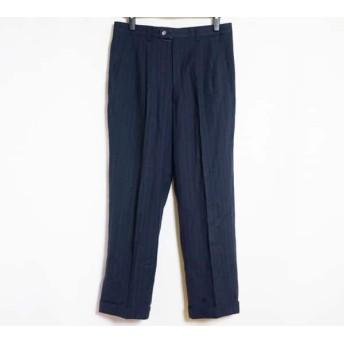 【中古】 ランバン LANVIN パンツ メンズ 美品 ダークネイビー アイボリー ストライプ