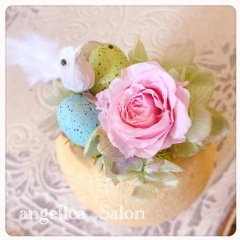 イースターエッグと小鳥のアレンジ プリザーブドフラワーピンクバラ フラワーアレンジメント 出産祝 母の日 誕生日