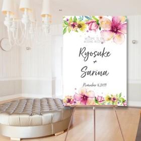 ウェルカムボード 夏 水彩画 名入れ 結婚式 二次会 ポスター印刷 パネル加工OK bord0403