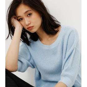 ニット・セーター - AZUL BY MOUSSY ワッフル編み7分袖クルーネックニットプルオーバー