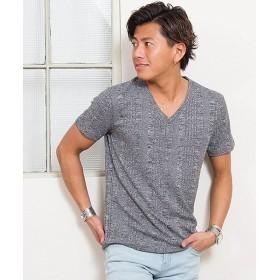 シルバーバレット CavariAランダムテレコVネック半袖Tシャツ メンズ グレー 46(L) 【SILVER BULLET】