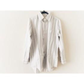 【中古】 ランバンコレクション 長袖シャツ サイズ50 XL メンズ 美品 白 グレー ライトブルー