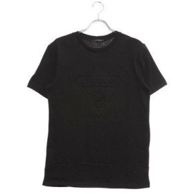 ゲス GUESS EMBOSS TRIANGLE LOGO TEE (BLACK)