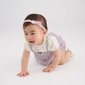 新生児 シンプルフリー オーバーオール+Tシャツ半袖セット レッド ベビー・キッズウェア 新生児・乳児(50~80cm) カバーオール・ロンパース (154)