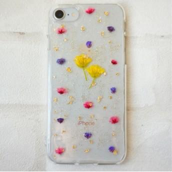 菜の花とかすみ草のキラキラスマホケース