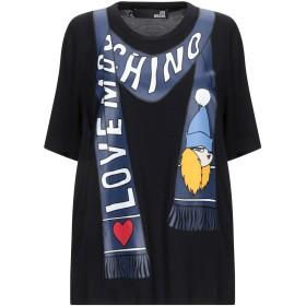 《セール開催中》LOVE MOSCHINO レディース T シャツ ブラック 38 レーヨン 94% / ポリウレタン 6%