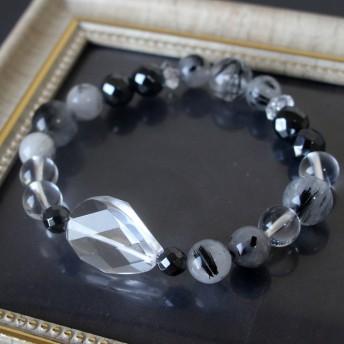 ブラックトルマリンインクォーツと大型オーバル天然水晶のクールな天然石 パワーストーン ブレスレット
