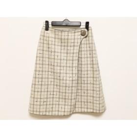 【中古】 ロイスクレヨン Lois CRAYON 巻きスカート サイズM レディース アイボリー ネイビー チェック柄