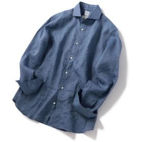シップス SD: ウォッシュド リネン ソリッド ホリゾンタルカラーシャツ(ブルー系) メンズ ブルー系 X-LARGE 【SHIPS】