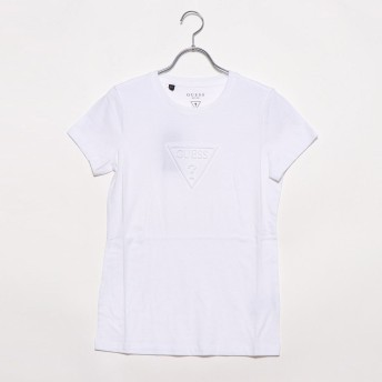 ゲス GUESS EMBOSS TRIANGLE LOGO TEE (WHITE)