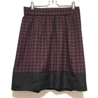 【中古】 ローズティアラ Rose Tiara スカート サイズ42 L レディース 美品 黒 ボルドー 千鳥格子