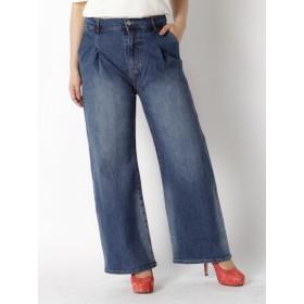 【大きいサイズレディース】【L-3L】中空糸デニムワイドパンツ パンツ ワイドパンツ