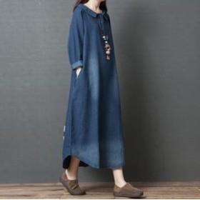 ロング丈 デニム ワンピース erfm-96698TS