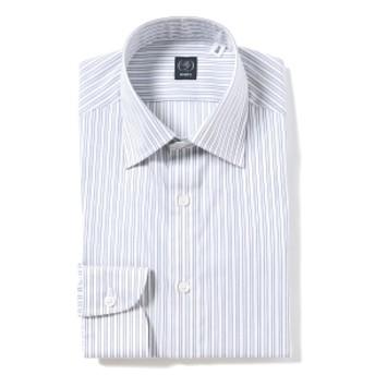BEAMS F / サンドストライプ セミワイドカラーシャツ メンズ ドレスシャツ GREY/15 42