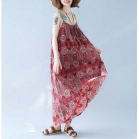 新着 夏服 レディース キャミソール ロング丈 ワンピース 気質ドレス 旅行 ルーズ 大きいサイズ 夏 花柄 マタニティ 体型カバー