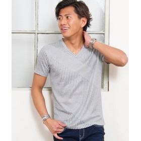シルバーバレット CavariAクレイジーテレコVネック半袖Tシャツ メンズ グレー 46(L) 【SILVER BULLET】