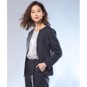洗える麻調ストレッチキーネックジャケット(上下別売りスーツ) (大きいサイズレディース)スーツ,women's suits ,plus size