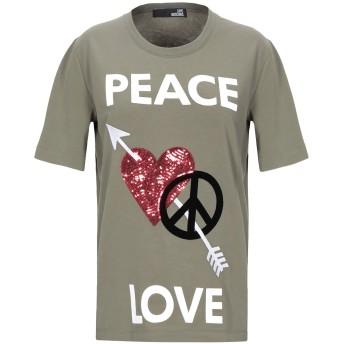 《期間限定セール開催中!》LOVE MOSCHINO レディース T シャツ ミリタリーグリーン 40 コットン 93% / ポリウレタン 7%